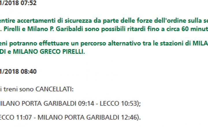 Lombardia, due morti investiti da treni. Cancellazioni e ritardi